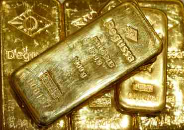 File photo of gold bars in vault of precious metal trader Degussa in Zurich